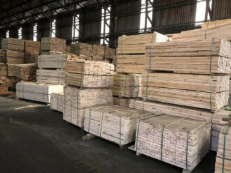 Stacked timber in various lengths